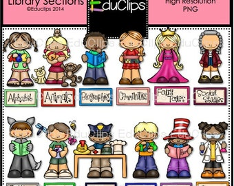 Classroom Library Sections Clip Art Bundle