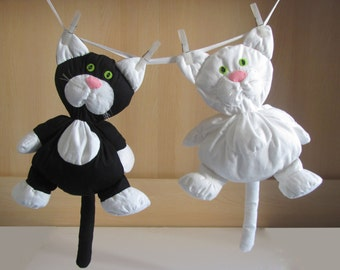 White or Black Cat - flannel handmade stuffed toy