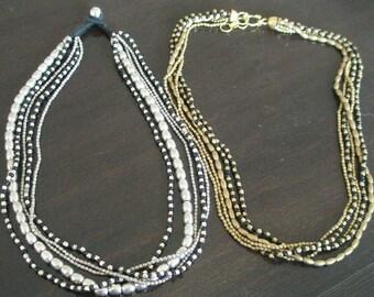 multirow black-silver-gold Joe necklace- short model