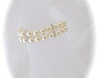 Pearl wedding bracelet bridal jewelry pearl and crystal bracelet wedding jewelry