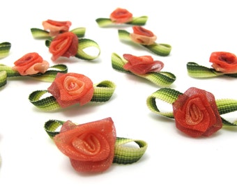 50 Pieces Chiffon Rose Flower Buds with Leaf Loop|Ombre Color|Flower Applique|Fabric Flower|Baby Doll|Craft Bow|Accessories Making
