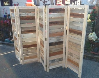 """Handmade Primitive Room Divider / Movable Wall / Screen made from Antique Looking Wood - 5' 10"""" Tall with Five Panels - Beautiful!"""