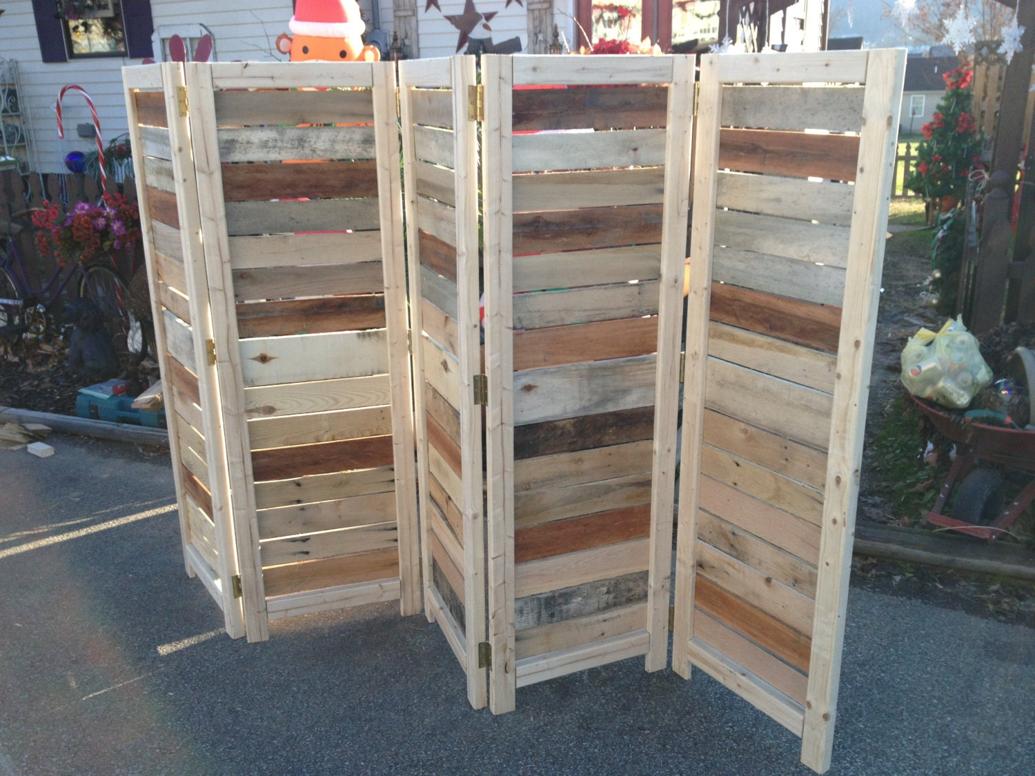 Handmade primitive room divider movable wall screen made for Movable pallets