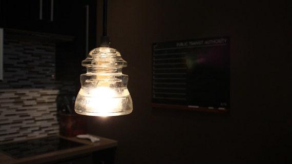 Items similar to antique glass insulator pendant light on etsy for Antique insulator pendant lights