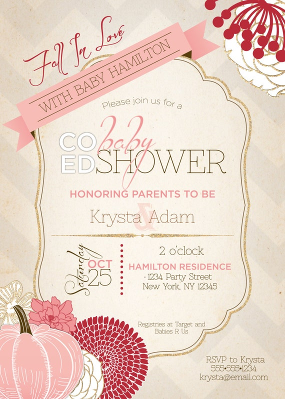 co ed optional fall baby shower invitation by paisleydaynedesigns