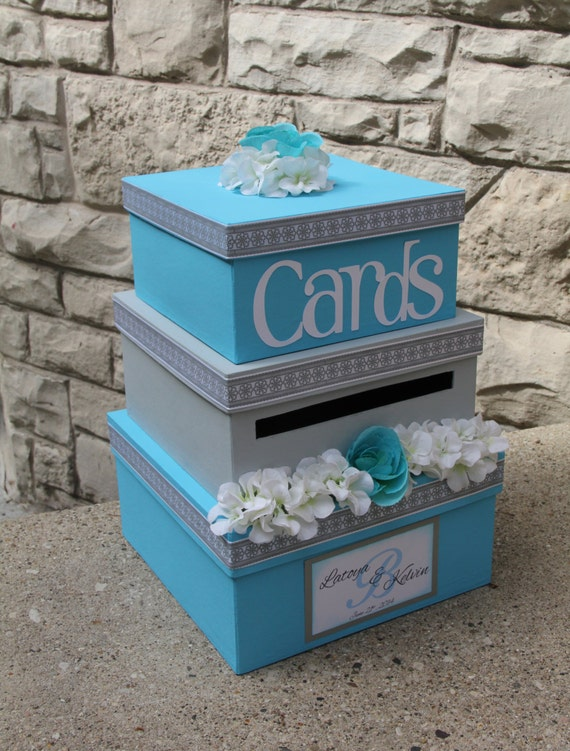 Wedding Gift Card Box Beach Theme : Custom Wedding Card Box, 3 Tier, Card Holder, Square, Malibu Blue and ...