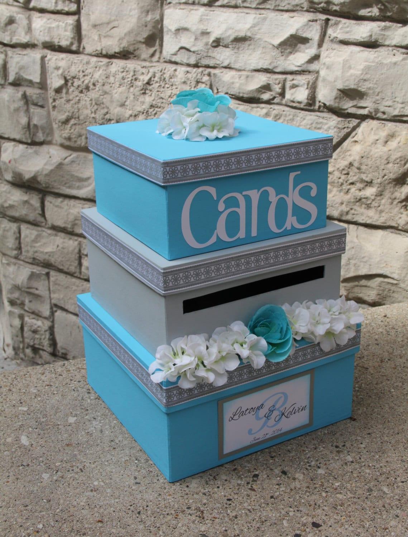 Wedding Gift Card Mailbox : Custom Wedding Card Box 3 Tier Card Holder Square Malibu