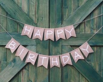 Happy Birthday burlap banner - happy birthday sign, birthday party decoration