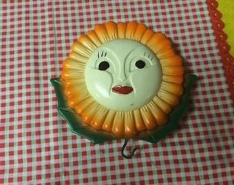 Vintage Anthropomorphic Sunflower Chalkware