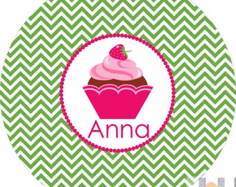 Personalized girls chevron cupcake dinner plate! Perfect for birthdays! A custom, fun and UNIQUE gift idea!