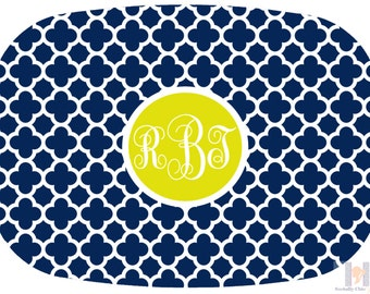 Modern navy, white and yellow quatrefoil monogrammed platter.  The perfect gift- entertain with style! Dishwasher safe! Custom gifts!!