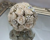 Wedding bouquet vinatge style brooch and flower bouquet in gold and cream with pearls and organza made to order - Lovefromlilywedding