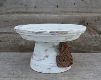 Rustic Wedding Cake Stand, Rustic Pedestal Cake Stand, Shabby Chic Cupcake Pedestal, Dessert Buffet Stand, Rustic Serving Platter