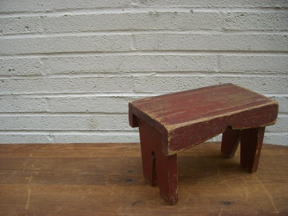Vintage Rustic Wooden Step Stool Riser By Simply2nds On