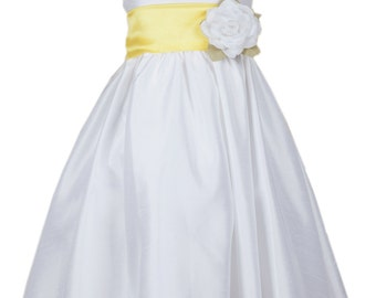 White Poly-Dupioni Dress with Removable Organza Sash and Flower Pin