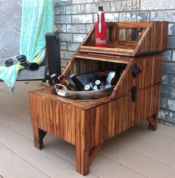 Wood Beer Cooler-Vertical - Reclaimed Oak Barn Wood, Washtub Cooler - Outdoor Living, Outdoor Furniture, Home & Living MADE TO ORDER
