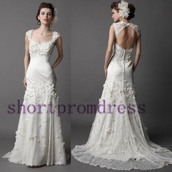 Backless wedding dress beach wedding dress lace wedding dress heart neckline wedding d sweep the floor wedding dress  cheap wedding dress