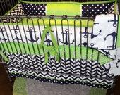 SKIPPER: Nautical Navy & Lime Baby Bedding