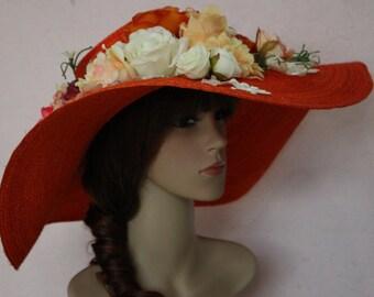 An Orange Sisal Wide brim Kentucky derby Spring Summer Flower Hat