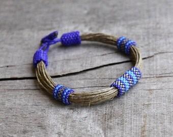 Navy blue Linen bracelet Beaded bracelet Gift best friend Organic jewelry African bracelet Gift for sister Ethnic bracelet Summer jewelry