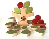 Apple tree wooden puzzle, wooden toy, balancing toy, seasons table