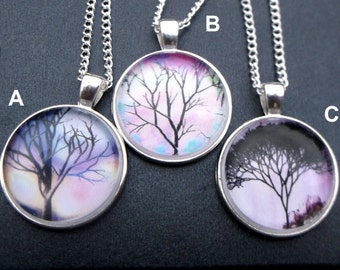 The Bare Branches Collection: Stunning Branch Image Glass Cabochon Pendant Necklace
