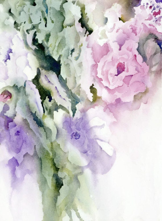 Abstract Floral Art Flower Print Art Watercolor By