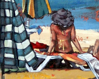 Giclee art print, original art, impressionist oil, modern painting, contemporary art, beach art, beachhouse art, wall art, The Sunbather II