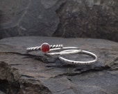 For Cindy: Custom set of 3 Stackable Rings with Carnelian, Size 8-1/2