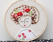 Julia Embroidery Hoop Art with red Poppies, Girl in a cherry shirt