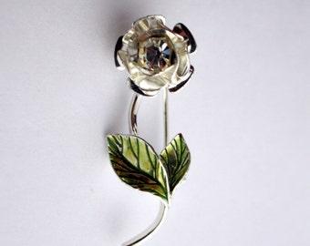 Vintage Silver Tone Rhinestone Flower Avon Brooch