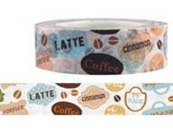 Coffee Washi Tape--Deco tape-- 15mm x15M