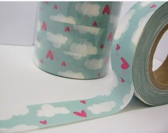 Heart and Cloud Washi Tape -- Japanese Washi Tape -Deco tape-- 10M