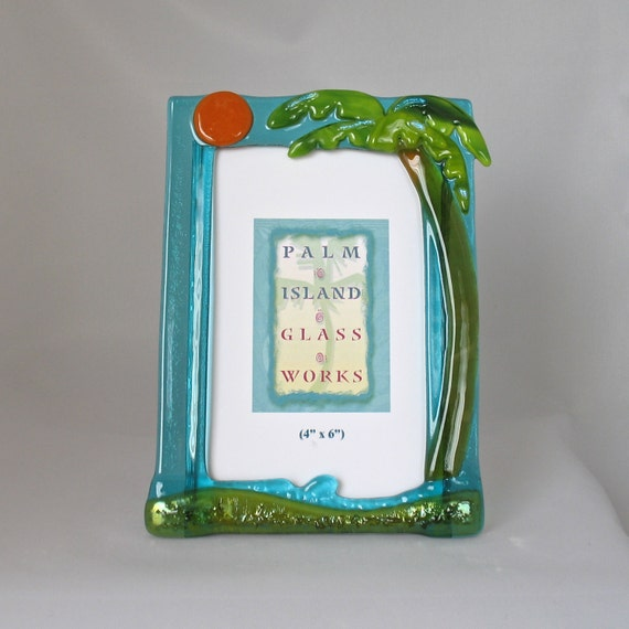 fused glass picture frame palm tree single