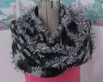 Crochet Infinity Scarf Extra Long Black Gray Furry Wrap it One Two THREE Times Around