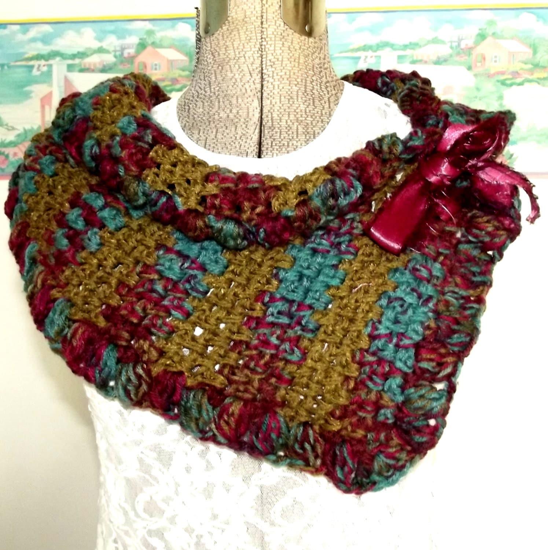 handmade crochet scarf olive turquoise maroon shawl