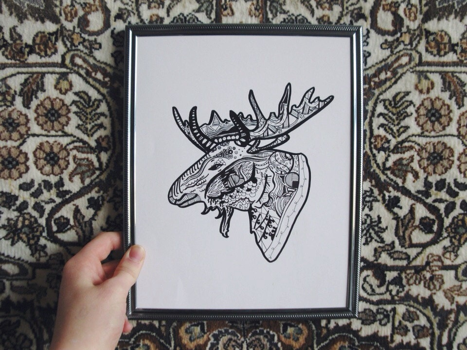 Moose Drawing Cute Moose Drawing Illustration Has