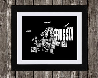 Europe Map Printable Art, Typographic Map, European Countries, Country Names, Word Art, Wall Art, Black, White, Typography, 14 x 11""