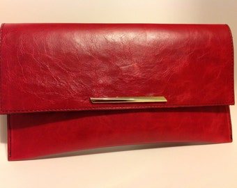 Red Leather clutch with magnetic closure