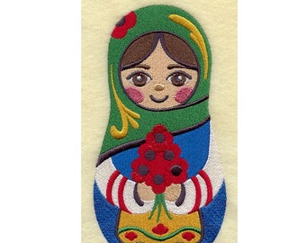 """hand towel for  kitchen 15x25""""  - Matryoshka nesting doll girl w poppies - 5x7"""" design EMBROIDERED"""