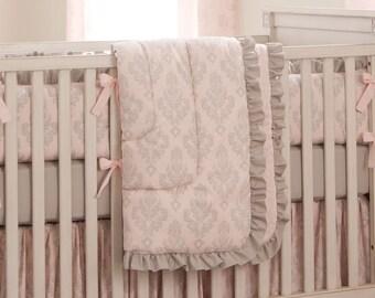 Girl Baby Crib Bedding: Paris Script Crib Comforter by Carousel Designs