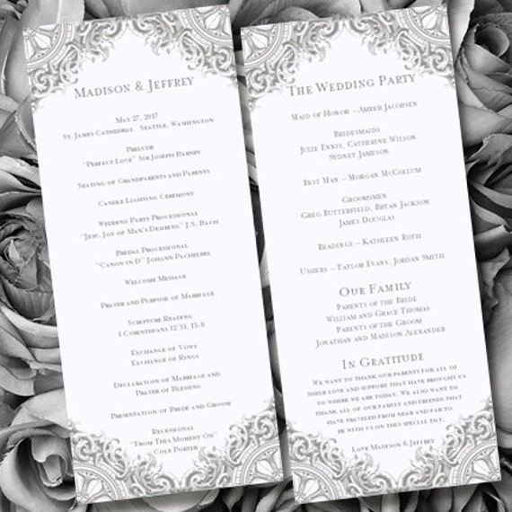 Wedding Anniversary Program Ideas: Wedding Program Vintage Silver Gray Printable By