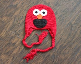 Elmo Beanie, Baby Crochet Animal Beanie Hat, SIZE 3 - 12 MONTHS