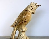 vintage ceramic cockatoo // white and gold