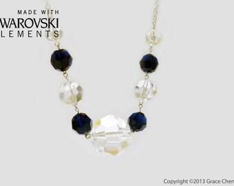 Handmade Necklace Dark Blue Crystal Swarovski Big Stone