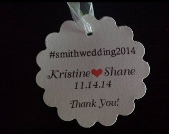 Wedding Tags #wedding Favor Tags Thank You Scalloped Round Hang Tags Hashtag