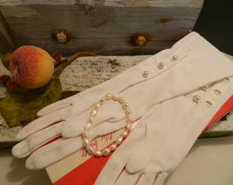 Vintage Mid Century Long White Evening Gloves With Pearl Buttons