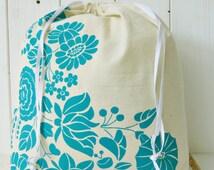 Organic Cotton Gift Bag Bread Bag Screen printed Hungarian Kalocsa Folk Pattern - Turquise