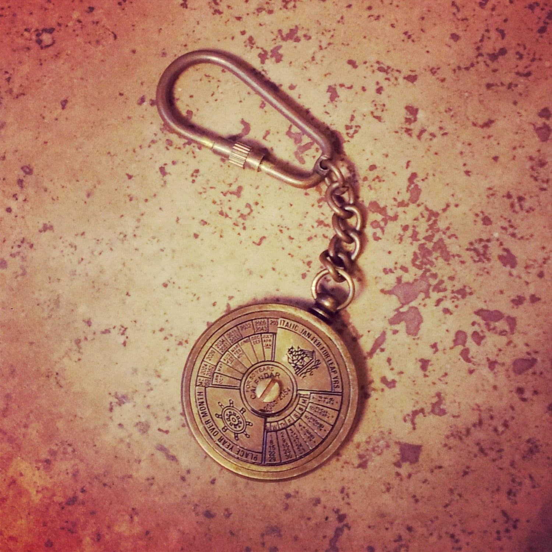 Year Calendar Keyring : Year perpetual calendar keychain antique brass nautical
