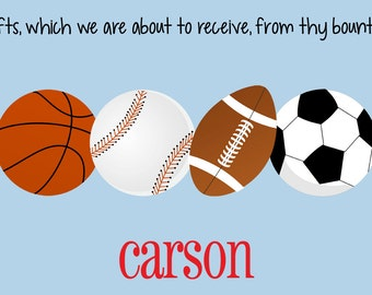 Personalized Placemat - Kids Placemat - Childrens Laminated Placemat - Baseball - Football - Soccer - Basketball - Sports (Team Colors)